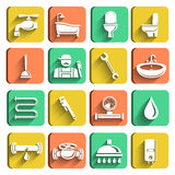 Plumbing Tools Icons Set. Of plumber wrench bathroom and water leak isolated vector illustration Stock Photography