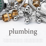 Plumbing and tools on a light background Royalty Free Stock Images