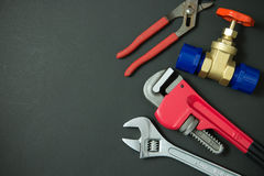 Plumbing tools and materials Royalty Free Stock Photos