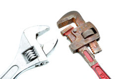 Plumbing tools. Set with wrench Royalty Free Stock Images