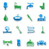 Plumbing tools sticker collection. Of plumber tools and pipes design elements vector illustration Stock Photo