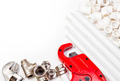 Plumbing tools supplies background royalty free stock images