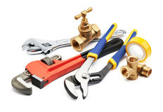 Plumbing tools. Various type of plumbing tools against white background Stock Image