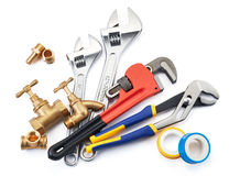 Plumbing tools. Various type of plumbing tools on white background stock images