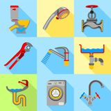 Plumbing trouble icons set, flat style Stock Images