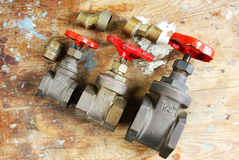 Plumbing water valves parts Royalty Free Stock Photos