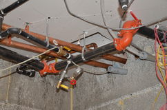 Plumbing, water lines and fire protection Stock Images