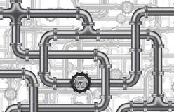 Plumbing water oil pipelines valve isolated. Plumbing water piping pipelines tubing valve tubes background oil pipeline vector illustration