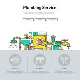 Plumbing Web Page. One page layout for plumbing service web site. Different plumber and house repair services. Hero illustration Stock Images