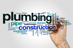 Plumbing word cloud. Concept on grey background royalty free stock photography