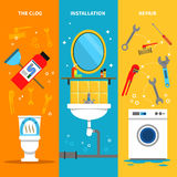 Plumbing Works Banners Set. Plumbing works vertical banners set with clog installation and repairs symbols flat  vector illustration Stock Images