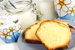 Plumcake. On the table with cappuccino cup Royalty Free Stock Image
