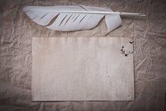 Plume antique de feuille sur le papier d'emballage chiffonné Photos libres de droits