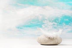 Plume blanche sur une pierre : fond pour une condoléance ou une escroquerie de station thermale Photo stock