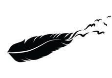 Plume et oiseaux monochromes noirs et blancs pour le tatouage illustration de vecteur