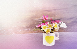 Plumeria ύφους καμβά σύστασης ή λουλούδι frangipani στο ελαφρύ κτύπημα καρδιών Στοκ Εικόνα