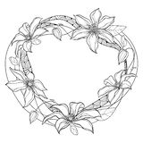Vector round frame with outline Clematis or Traveller`s joy ornate flower bunch, bud and leaves in black isolated on white. Vector round frame with outline vector illustration