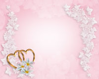 Plumeria da cor-de-rosa do convite do casamento Fotos de Stock Royalty Free