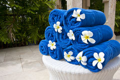 Plumeria  decoration on blue Towel Royalty Free Stock Image
