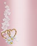 Plumeria del color de rosa de la invitación de la boda Fotos de archivo