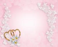 Plumeria del color de rosa de la invitación de la boda Fotos de archivo libres de regalías