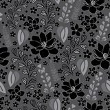 Plumeria e Magnólia-flores da alfazema no fundo sem emenda do teste padrão da repetição da flor no cinza e no branco pretos ilustração royalty free
