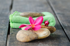 Plumeria flower and Fabric with stone. Concept of spa, treatment, relaxation and nature royalty free stock photo