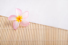 Plumeria flower. On wood and paper texture Stock Photos