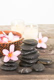 Plumeria flowers and black stones Stock Images