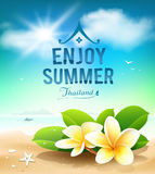 Plumeria flowers, enjoy summer greeting card Stock Photography