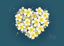 Plumeria flowers heart on a dark teal background stock illustration