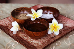 Plumeria flowers in spa Royalty Free Stock Image