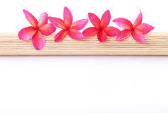 Plumeria on a rolled bamboo mat Stock Photo