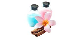 Plumeria and Shampoo On White. Isolated Plumeria dan Shampoo On SPA concept Stock Images