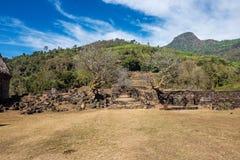 Plumeriablumenbäume an den Ruinen des Bottich Phou-Khmertempels, Laos stockfotografie