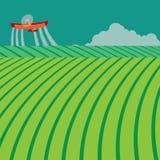Plumero de la cosecha que rocía las sustancias químicas tóxicas stock de ilustración