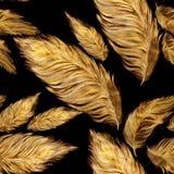 Plumes argentées d'or Composition décorative Configuration sans joint Composition décorative Photo libre de droits