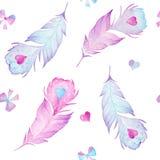 Plumes d'oiseaux d'aquarelle, coeurs et texture sans couture de modèle d'arcs Images stock