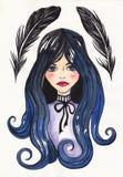 Plumes gothiques de fille et de corneille Image libre de droits