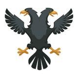 Plumes héraldiques de noir d'aile et de bec de symbole de Byzance de double aigle illustration de vecteur