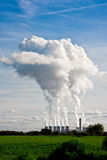 Plumes of steam rising from Drax Power Station. In Selby, North Yorkshire, Western Europe's largest power station stock images