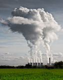Plumes of steam rising from Drax Power Station Royalty Free Stock Photos