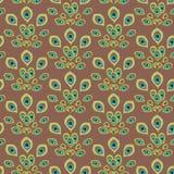 Plumes vert clair de paon comme une queue de paon sur le fond brun illustration stock