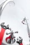 plumling γαλλικό κλειδί λουτρώ Στοκ Εικόνα