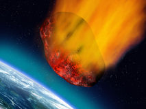 Plummeting asteroid. Illustration of a huge asteroid plummeting towards the earth Royalty Free Stock Image