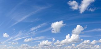 Plumose and cumulus clouds. The pure sky on a pure planet Royalty Free Stock Photo
