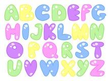 Plump alphabet. Vector illustration childish abc made of plump letters Stock Photo