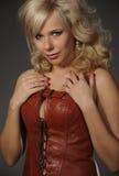 Plump beautiful woman in corset Royalty Free Stock Photos