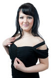 Plump girl in black dress Royalty Free Stock Photo
