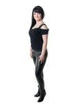 Plump girl in black dress Royalty Free Stock Photos